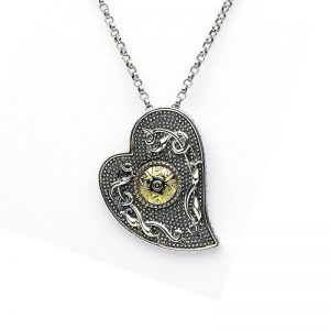 Boru Wood Quay Silver Heart Pendant with 18K Gold Bead