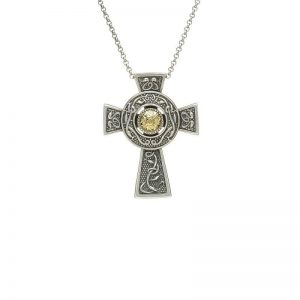 Boru Small Wood Quay Silver Cross with 18K Gold Bead