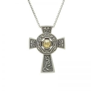 Boru Large Wood Quay Silver Cross with 18K Gold Bead