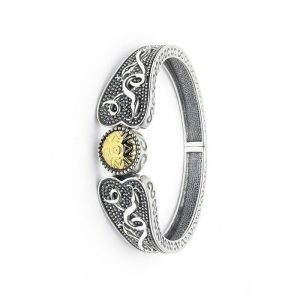 Boru Wide Wood Quay Silver Bangle with 18K Gold Bead