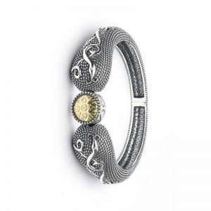 Boru Wood Quay Silver Bangle with 18K Gold Bead