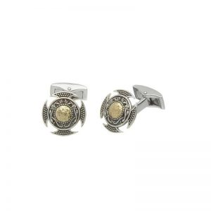 Boru Wood Quay Silver Cuff Links with 18K Gold Bead
