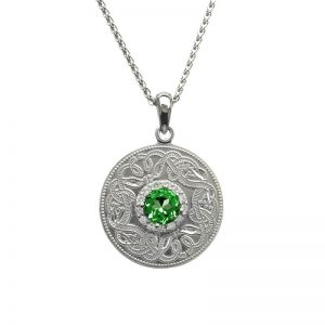 Boru Silver Medium Green Celtic Warrior Pendant