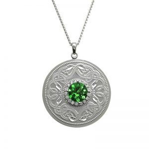 Boru Silver Large Green Celtic Warrior Pendant WP5E