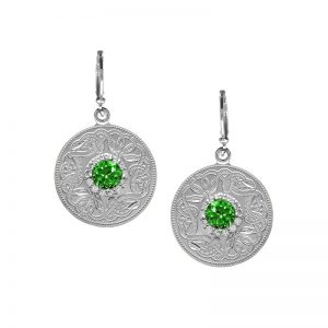 Boru Medium Emerald Green Celtic Warrior Earrings