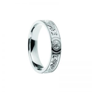 Ladies Celtic Warrior Band 14k White Gold