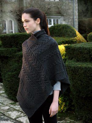 Black Wool Aran Poncho