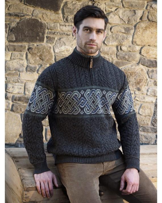 61ce022e071f Celtic Irish Jacquard Half Zip Sweater- West End Knitwear