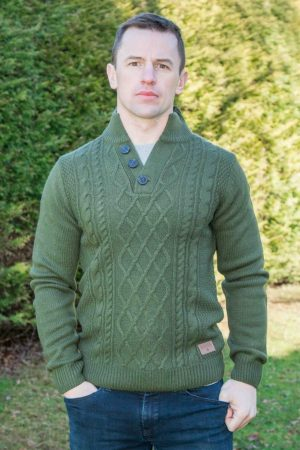 Men's Green Burren Aran Sweater