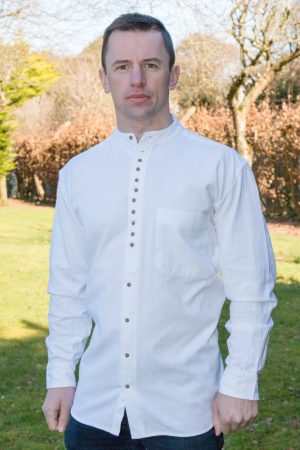 White Traditional Irish Grandfather Shirt