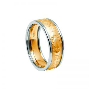 Ladies White & Yellow Gold Claddagh Ring Gold Claddagh Ring