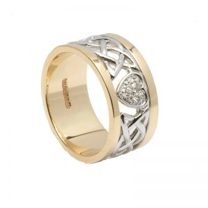 Ladies 14k Gold Diamond Celtic Wedding Band