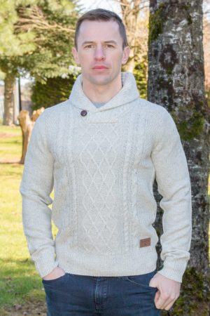 'Men's Winter White Aran Killarney Sweater