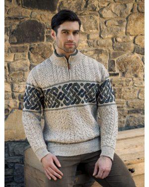 Celtic Irish Jacquard Half Zip Sweater