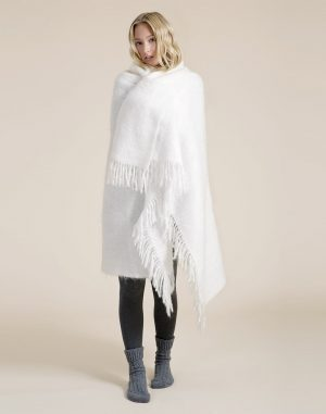 Foxford Pure White Mohair Blanket Throw