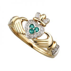 Solvar 14K Diamond & Emerald Claddagh Ring