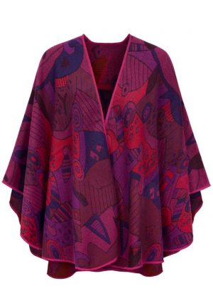 Fuchsia Shawl With 'Picasso' Inspired Motif by Jimmy Hourihan