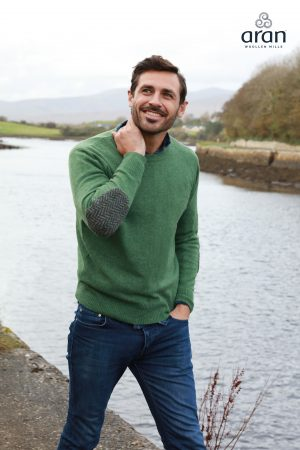 Aran Merino Wool Green Crew Neck Sweater