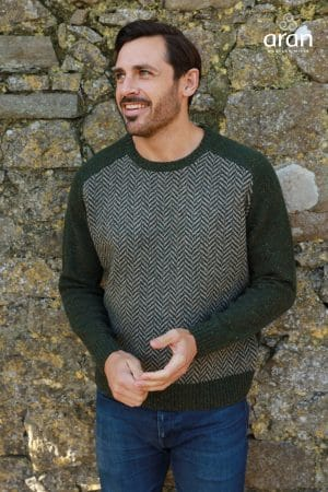 Aran Green Herringbone Crew Neck Sweater
