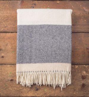 Foxford Bone & White Stripe Blanket Throw