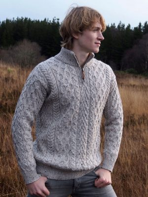 Oatmeal Merino Wool Half Zip Aran Sweater