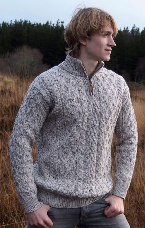 Oatmeal Merino Wool Half Zip Aran Sweater