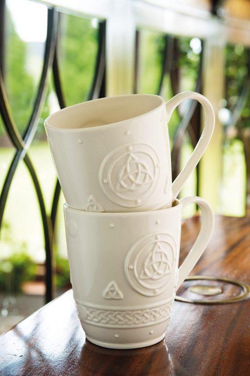 Belleek Celtic Mugs Set Of 2