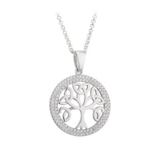 Irish Tree of Life Sterling Silver Pendant Necklace