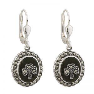 Solvar Connemara Marble Shamrock Earrings s33246