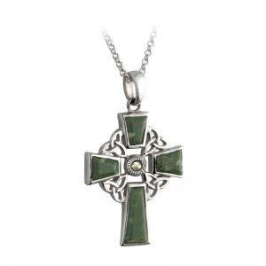 Connemara Marble Sterling Silver Celtic Cross