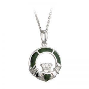Solvar Connemara Marble Sterling Silver Claddagh Pendant