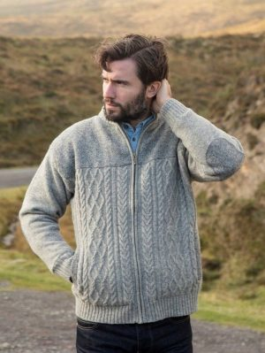 Silver Marl Shetland Zipper Irish Tweed Finish Cardigan