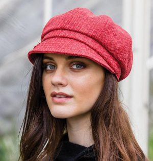 3183476d735  Ladies Mucros Tweed Hat – Coral Newsboy Cap 215