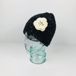 Black Flower Wool Hat