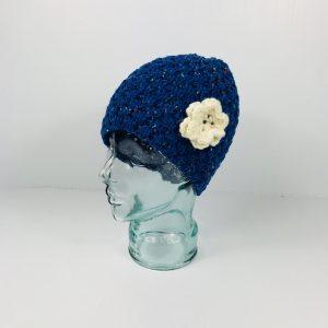 Blue Wool Flower Hat