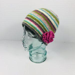 Hand knit Flower Beanie Hat