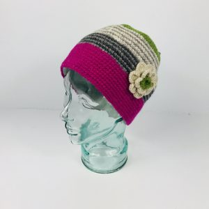 Hand knit Beanie Hat With Flower