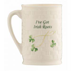 Belleek Shamrock I've Got Irish Roots Mug