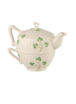 Belleek Harp Shamrock Tea For One Tea Pot