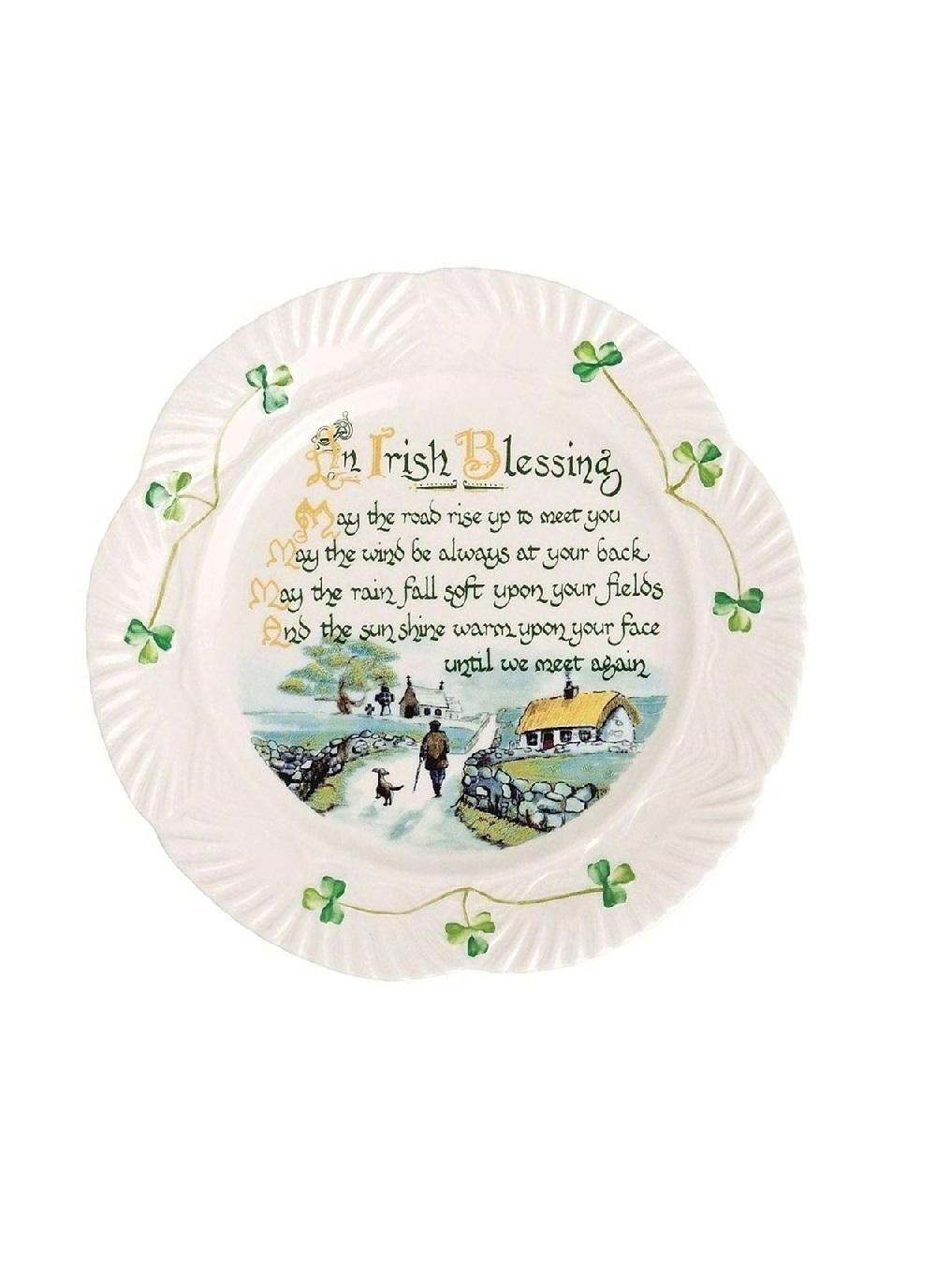 irish blessing plate Shamrock