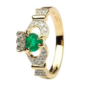 Shanore Claddagh Ring Emerald Diamond