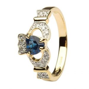 Shanore 14K Gold Sapphire Claddagh