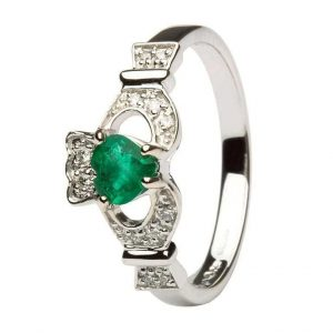 Shanore White Gold Emerald Claddagh Ring
