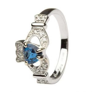 Shanore White Gold Sapphire Claddagh Ring
