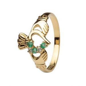 14K Gold Emerald Diamond Set Claddagh Ring