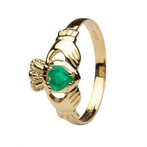 Shanore Claddagh 14K Gold Emerald Ring