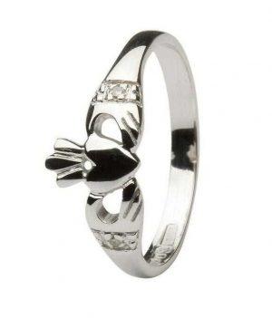 14K White Gold Claddagh Diamond Ring