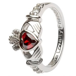 Shanore Sterling Silver January Birthstone Claddagh Ring