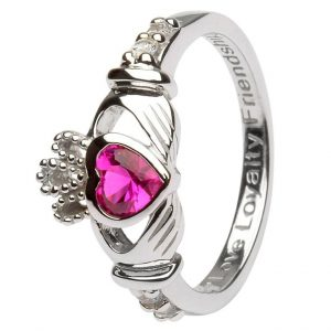 Shanore Sterling Silver July Birthstone Claddagh Ring