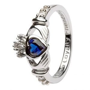 Shanore Sterling Silver September Birthstone Claddagh Ring